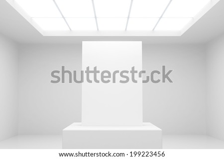 abstract white interior with stand and blank paper - stock photo