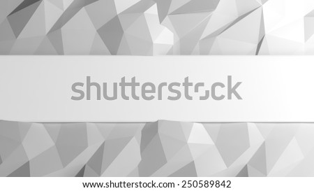 Abstract white low poly background with copy-space - stock photo