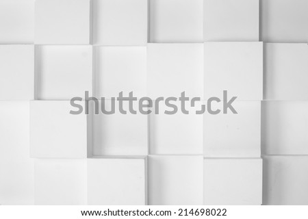 abstract white modern architecture background with white cubes on the wall - stock photo