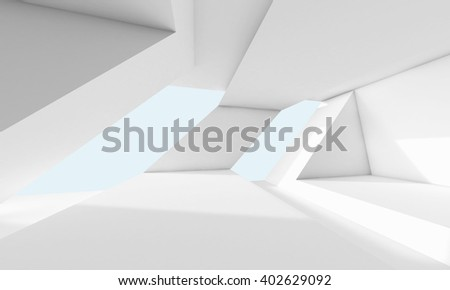 Abstract white room interior with windows and modern geometric structures. Empty architecture background, 3d render illustration