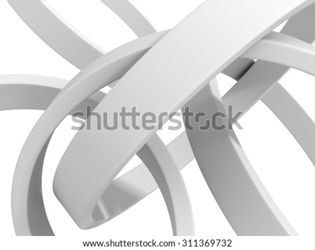 Abstract White Round Circles Pattern Background. 3d Render Illustration - stock photo
