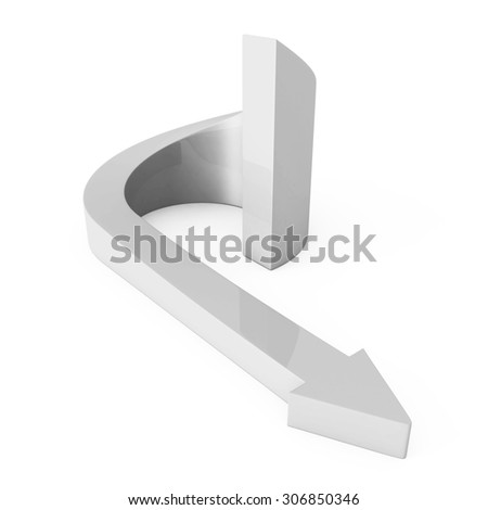 Abstract White Round Cycled Arrow. 3d Render Illustration - stock photo