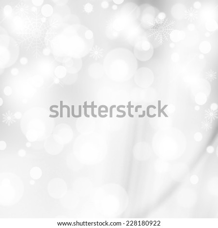 Abstract white shiny lights, silver festive background - stock photo