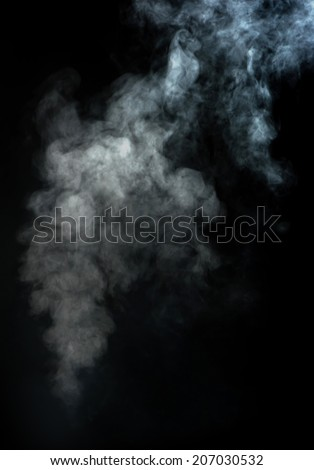 Abstract white smoke on black background - stock photo