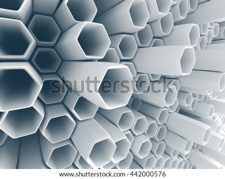Abstract White Wall Chaotic Background. 3d Render Illustration - stock photo