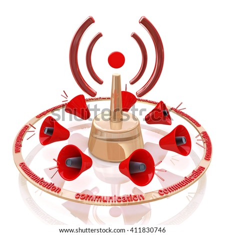 Abstract Wi-fi on white background. Signal communication in the design of the information related to the communication.3D illustration - stock photo