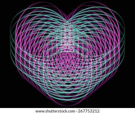 Abstract wicker figure in the form of heart on a black background - stock photo