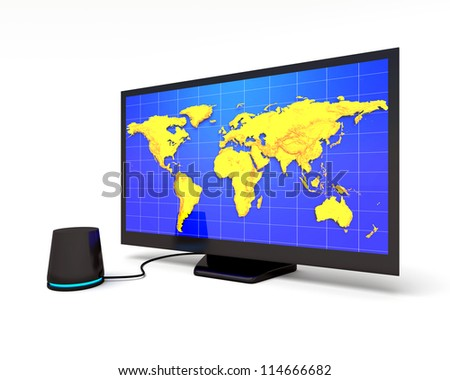 Abstract Widescreen lcd display with world map - stock photo