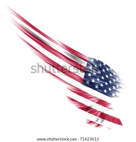 Abstract wing with United States flag on white background - stock photo