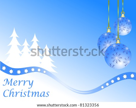 Abstract winter  background scene with  snowy christmas trees and baubles