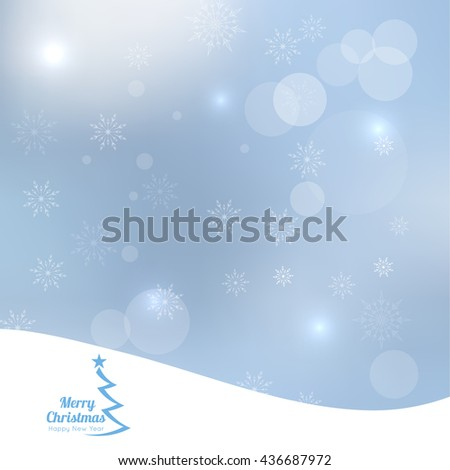 Abstract Winter Background with beautiful various snowflakes and stars. Happy New Year and Merry Christmas. Gift, Christmas Tree - stock photo
