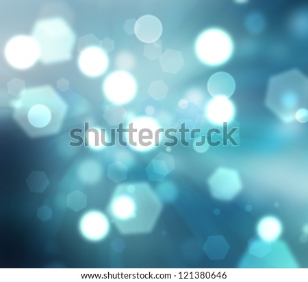 abstract winter background with blue blur light - stock photo