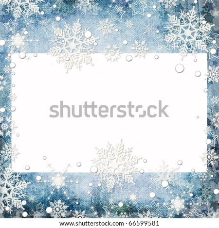 Abstract winter background with snowflakes and place for text - stock photo