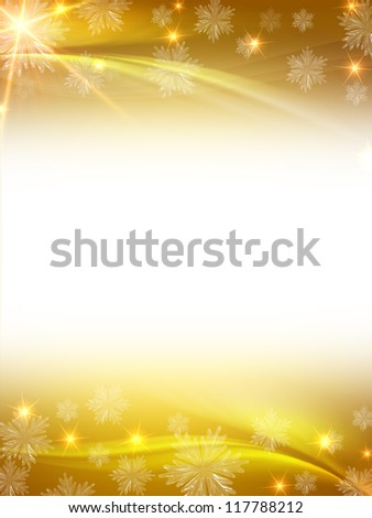 abstract winter background with snowflakes, stars, lights and rays and text space - stock photo