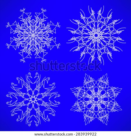 Abstract Winter Snow Flakes Set Isolated on Blue Background. - stock photo