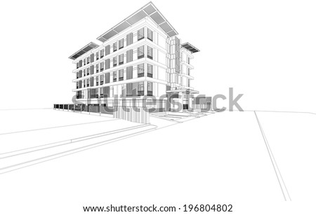 Abstract wireframe of a building, 3D rendering - stock photo