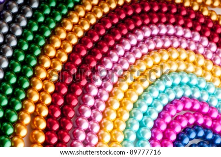 Abstract with colourful pearl necklaces