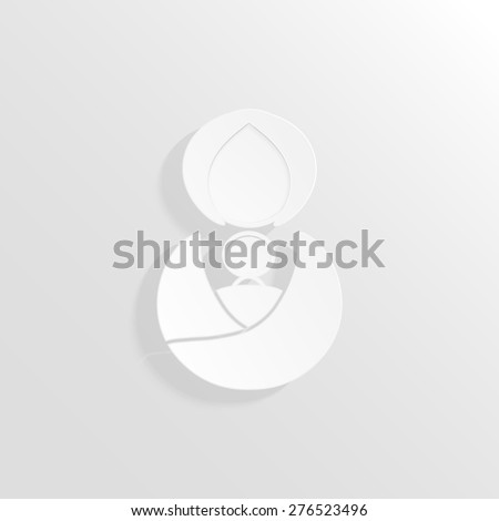Abstract woman and baby 3D paper icon. Avatar. Gender icon. raster version illustration. Woman carries baby in sling. - stock photo