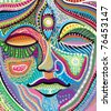 abstract woman face with multicolored indian pattern - stock photo