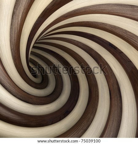 abstract wood twisted tunnel - stock photo