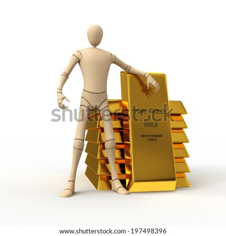 Abstract wooden man with golden bar stack 3D rendered isolated on white background - stock photo