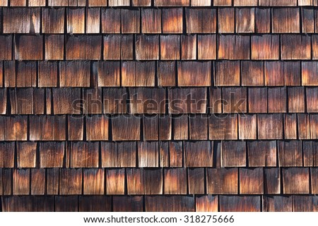 Abstract wooden texture of cedar shingles. Natural grain western red cedar color.