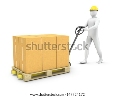 Abstract worker moves cargo on a pallet jack, isolated on white background - stock photo