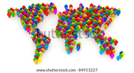 Abstract World Map from 3d people - stock photo