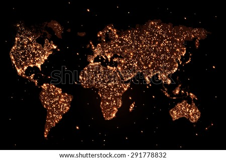 Abstract world map with lights in the night - stock photo