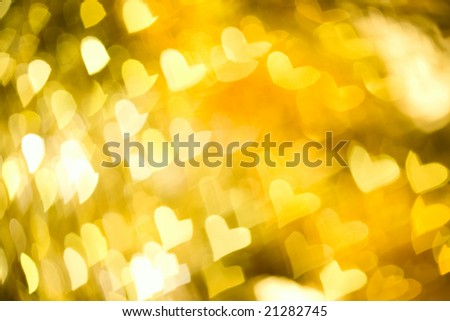 abstract yellow  background with heart - stock photo