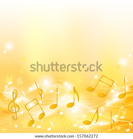 Abstract yellow background with music symbols and stars - stock photo
