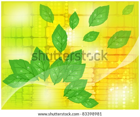 Abstract yellow background with the expanding green foliage - stock photo