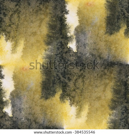 abstract  yellow black unique seamless water watercolor color pattern brush painting watercolour background