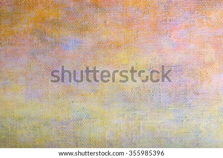 Abstract yellow brown oil painting background with brush strokes on canvas. Art concept. - stock photo