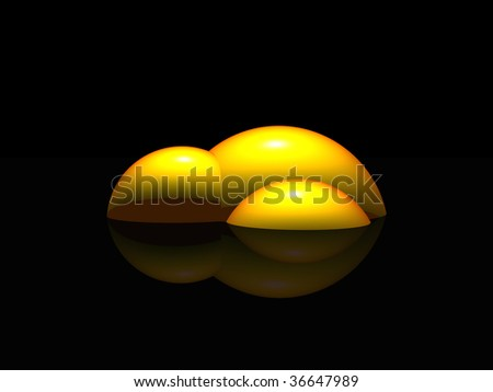 abstract yellow construction  on black background - 3d illustration