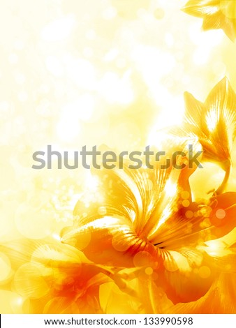 Abstract yellow flower card/ Beautiful flower background/ Spring background