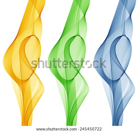Abstract yellow, green and blue smoke. - stock photo
