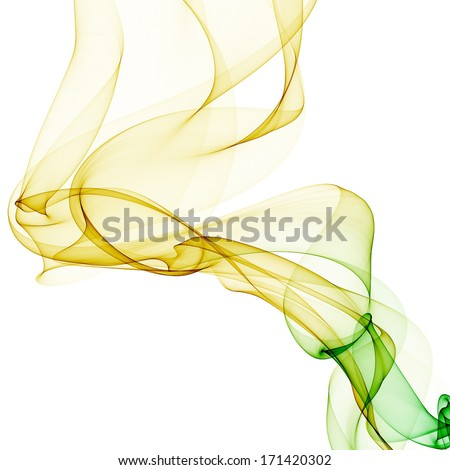 abstract yellow green band wave isolated on white background raster - stock photo