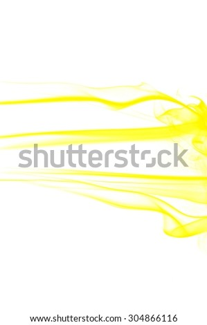 Abstract yellow smoke on white background, smoke background,yellow ink background,yellow smoke, gold smoke
