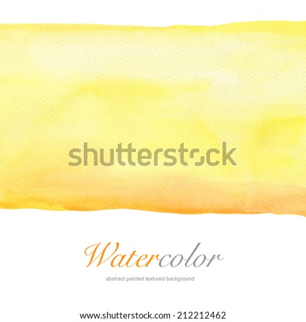 Abstract yellow watercolor hand painted background. Textured paper. - stock photo
