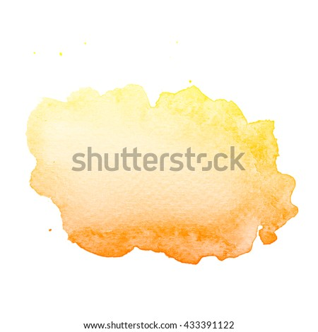 Abstract yellow watercolor on white background.The color splashing on the paper.It is a hand drawn.