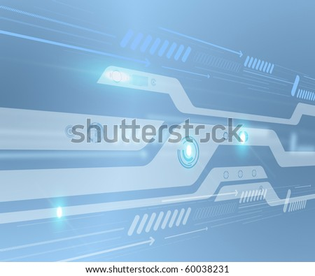 Abstraction blue background in high-tech style - stock photo