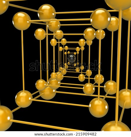 abstraction of balls. isolated on black background. 3d illustration  - stock photo