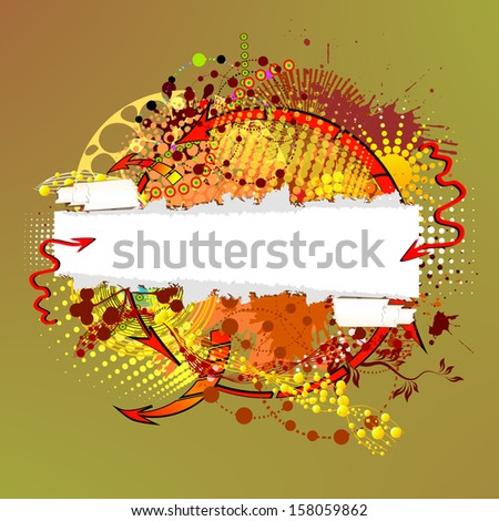abstraction of ink stains with a torn paper. Raster - stock photo