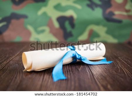 Abstraction of military mail on a camouflage background - stock photo