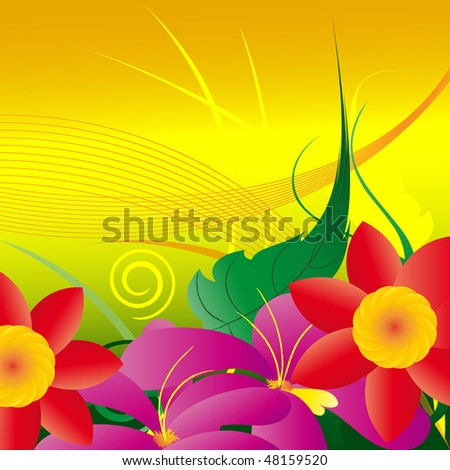 abstractly meadow with red and pink flowers, green leaf on green-yellow background