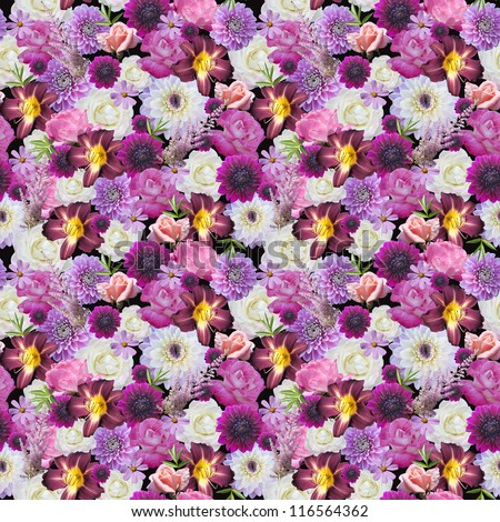 Abstracts seamless floral pattern. Background from various flowers. - stock photo