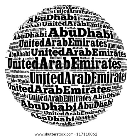 Abu Dhabi capital city of United Arab Emirates info-text graphics and arrangement concept on white background (word cloud) - stock photo