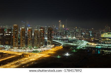 Abu Dhabi City, the capital of UAE - long exposure cityscape photograph.