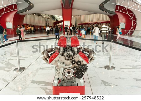 ABU DHABI - DEC 19: Ferrari Motor at the Ferrari World Theme Park entrance hall. December 19, 2014 in Abu Dhabi, United Arab Emirates - stock photo